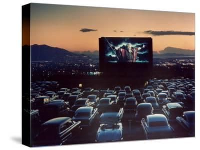 "Actor Charlton Heston as Moses in ""The Ten Commandments,"" Shown at Drive-in Theater by J. R. Eyerman"