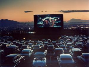 """Actor Charlton Heston as Moses in """"The Ten Commandments,"""" Shown at Drive-in Theater by J. R. Eyerman"""
