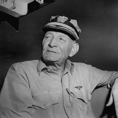 Admiral John S. Mccain, Sitting Aboard a Us Navy Carrier by J. R. Eyerman