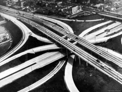 Aerial View of Hub of the Freeway System Including the Hollywood Freeway and the Harbor Freeway by J. R. Eyerman