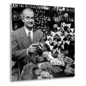 Cal. Tech Chemistry Professor, Dr. Linus Pauling with His Mineral Collection by J. R. Eyerman