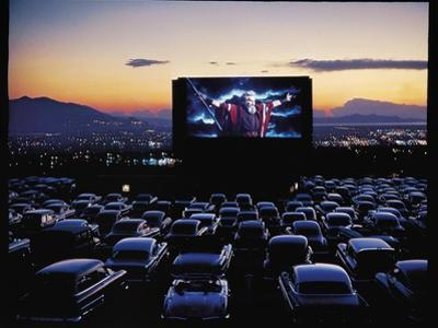 "Charlton Heston as Moses in Motion Picture ""The Ten Commandments"" Shown at Drive in Movie Theater by J. R. Eyerman"