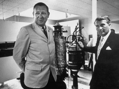 Dr. Werner Von Braun and Paul Horgan with a Piece from the Goddard Rocket Collection by J. R. Eyerman