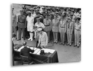 General MacArthur Watching Japanese Official Mamoru Shigemitsu Officially Surrender, USS Missouri by J. R. Eyerman