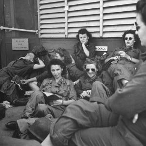 Group of Us Army Nurses Relaxing During Stopover on Guam En Route to their Final Destinations by J. R. Eyerman
