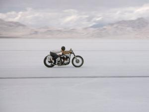 Speeding Motorcycle During Bonneville Hot Rod Meet at the Bonneville Salt Flats in Utah by J. R. Eyerman