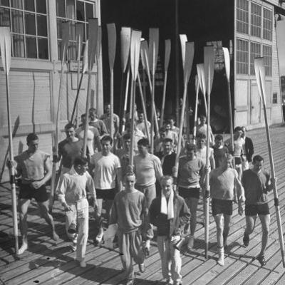 Washington Univ. Rowing Team Showing Up for Practice by J. R. Eyerman