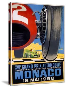 1958 Monaco Grand Prix F1 Poster by J Ramel