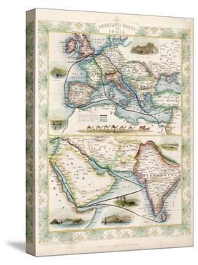 Two-Part Map Showing Overland Routes to India by J. Rapkin