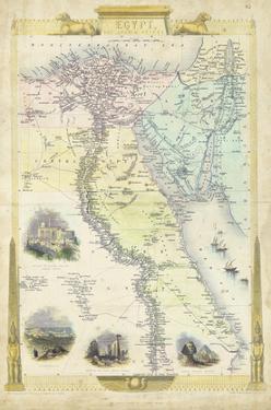 Vintage Map of Egypt by J. Rapkin
