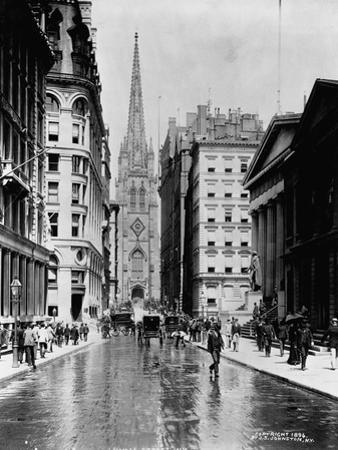 Wall Street and Trinity Church Spire, New York by J.S. Johnston