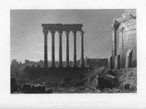 Pillars of the Great Temple at Balbec, 1841 by J Sands
