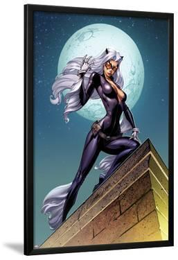 Ultimate Spider-Man No.152 Cover: Black Cat Standing on a Rooftop at Night by J. Scott Campbell