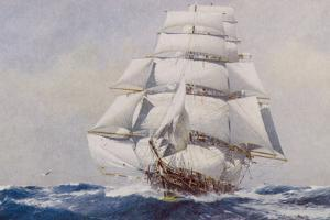 Clipper Under Full Sail by J. Spurling
