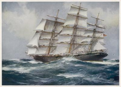 Three-Master Under Sail by J. Spurling