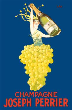 Champagne Joseph Perrier - French Woman Emerging from Chardonnay Grapes by J. Stall