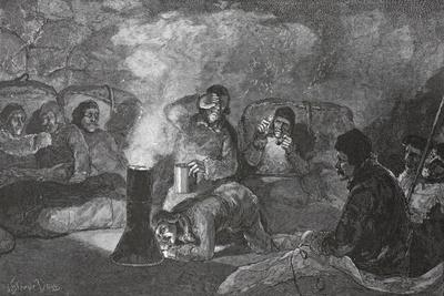 Interior of Our Winter Hut at Camp Clay, During Cooking, 1883 Pub. London 1886