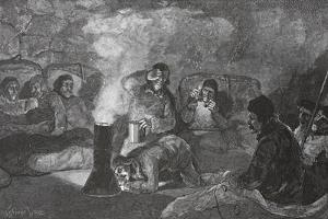 Interior of Our Winter Hut at Camp Clay, During Cooking, 1883 Pub. London 1886 by J. Steeple Davis