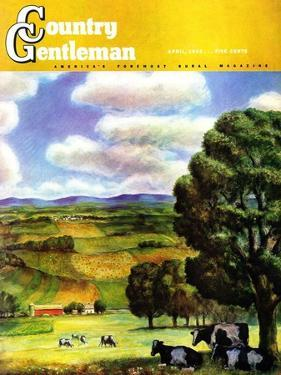 """Farm Landscape,"" Country Gentleman Cover, April 1, 1942 by J. Steuart Curry"