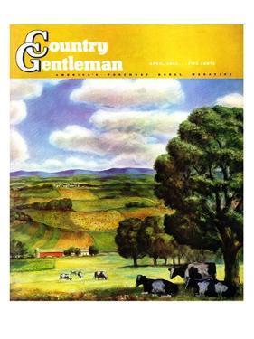 """Farm Landscape,"" Country Gentleman Cover, April 1, 1942 by J. Steuart Curry"