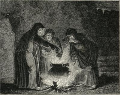Macbeth, Act IV Scene I: The Witches in Their Cavern Gathered Around the Boiling Cauldron