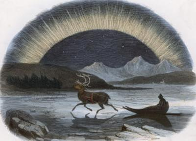 Traveller in a Reindeer Sleigh Sees a Spectacular Aurora Over the Northern Ice