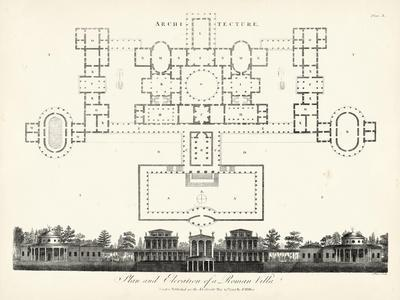 Plan and Elevation for a Roman Villa