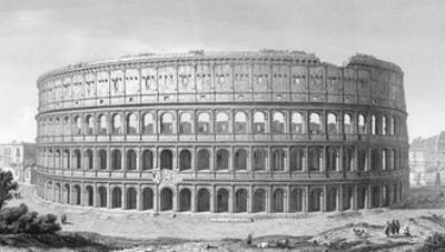 Rome, Colosseum 1855 by JA Levail
