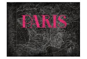 Pink Paris Map by Jace Grey