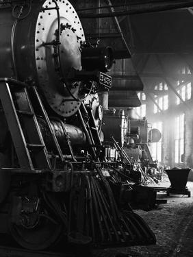 Locomotives in Roundhouse by Jack Delano