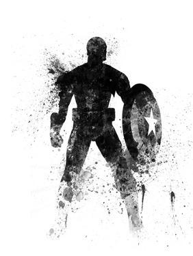 Captain America Watercolor I by Jack Hunter