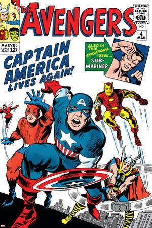Avengers Classic No.4 Cover: Captain America, Iron Man, Thor, Giant Man and Wasp by Jack Kirby