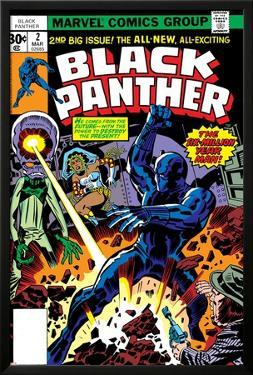 Black Panther No.2 Cover: Black Panther, Princess Zanda and Hatch-22 Charging by Jack Kirby