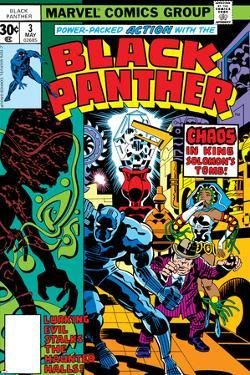 Black Panther No.3 Cover: Black Panther, Princess Zanda, Hatch-22, Little and Abner Charging by Jack Kirby