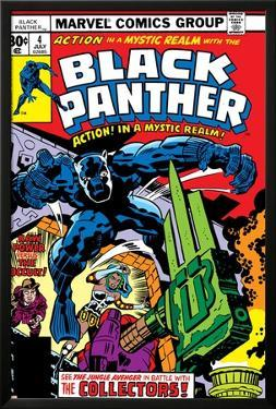 Black Panther No.4 Cover: Black Panther, Princess Zanda, Little and Abner Fighting by Jack Kirby