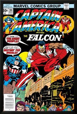Captain America And The Falcon No.201 Cover: Captain America and Falcon Crouching by Jack Kirby