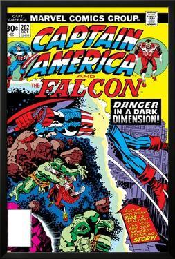 Captain America And The Falcon No.202 Cover: Captain America and Falcon Fighting and Flying by Jack Kirby