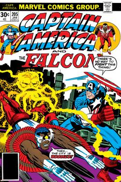 Captain America And The Falcon No.205 Cover: Captain America, Falcon and Agron Fighting and Flying by Jack Kirby