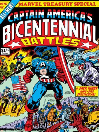 Captain America Bicentennial Battles Cover: Captain America Charging by Jack Kirby