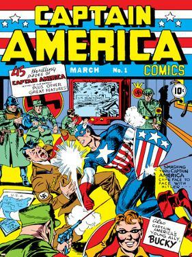 Captain America Comics No.1 Cover: Captain America, Hitler and Adolf by Jack Kirby