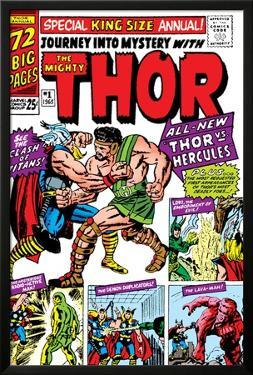 Journey Into Mystery: Thor No.1 Cover: Thor and Hercules Fighting by Jack Kirby