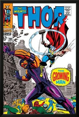 Thor No.140 Cover: Thor and Growing Man Fighting by Jack Kirby
