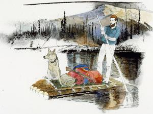 Keith Nyitray and His Dog Float Down the Chandalar River on a Raft by Jack Unruh