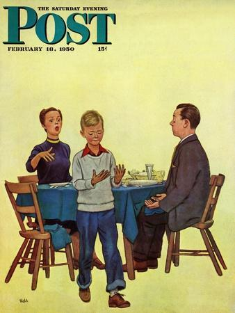 """""""Wash Your Hands"""" Saturday Evening Post Cover, February 18, 1950"""