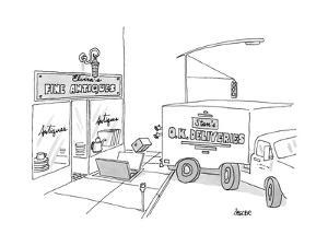 """A box from a truck labeled """"Stan's O.K. Deliveries"""" is thrown into the sto... - New Yorker Cartoon by Jack Ziegler"""