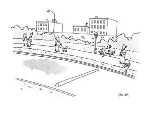 A car has just hit a speedbump on a road and the car has bounced extremely… - New Yorker Cartoon by Jack Ziegler