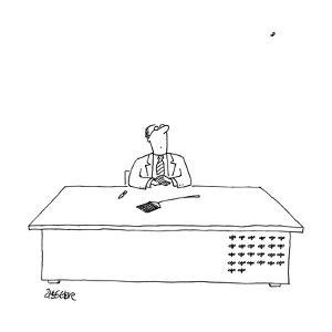 """A man is seated as his desk, looking up with a fly swatter in front of him?"""" - New Yorker Cartoon by Jack Ziegler"""