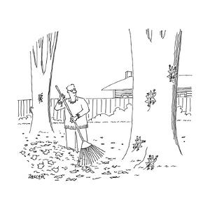 A man rakes leaves while four leaves scurry up a tree. - New Yorker Cartoon by Jack Ziegler