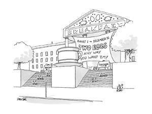 A museum-like building is dedicated to Breakfast with a large coffee cup o? - New Yorker Cartoon by Jack Ziegler
