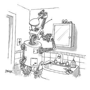 A robot standing in the bathroom with a hand mirror in his hand inserting ? - New Yorker Cartoon by Jack Ziegler